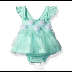 NWT Little Lass Baby Romper Mint Green Sz 6 Months